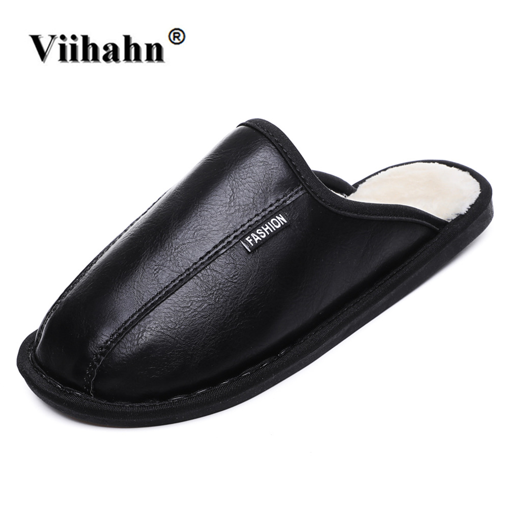 Viihahn PU Leather Home Slippers High Quality Women Men Winter Slippers Warm Plush Indoor Lovers Shoes men women home slippers 2018 new autumn winter warm cotton padded lovers at home slippers indoor shoes plush slippers st18