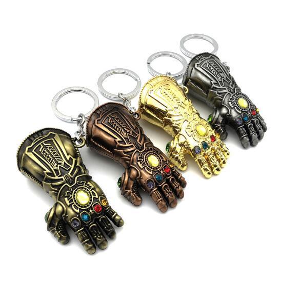 100pcs lot Marvel Avengers 4 Thanos Infinity Glove Keychain Gauntlet Keyring Alloy Key Chain Mixorder