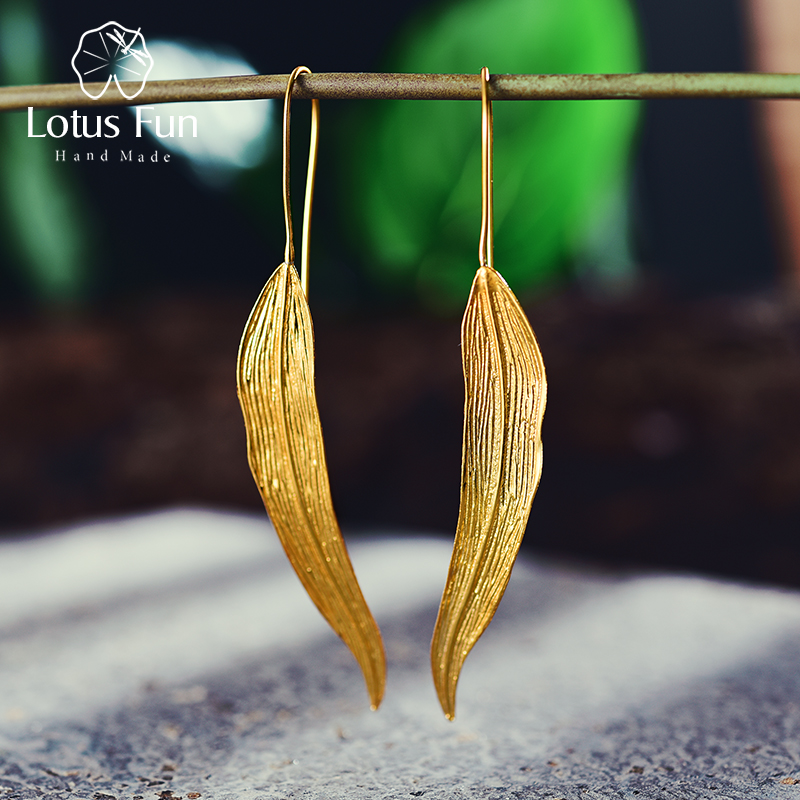 все цены на Lotus Fun Real 925 Sterling Silver Natural Original Handmade Fine Jewelry Vintage Long Leaves Drop Earrings for Women Brincos онлайн