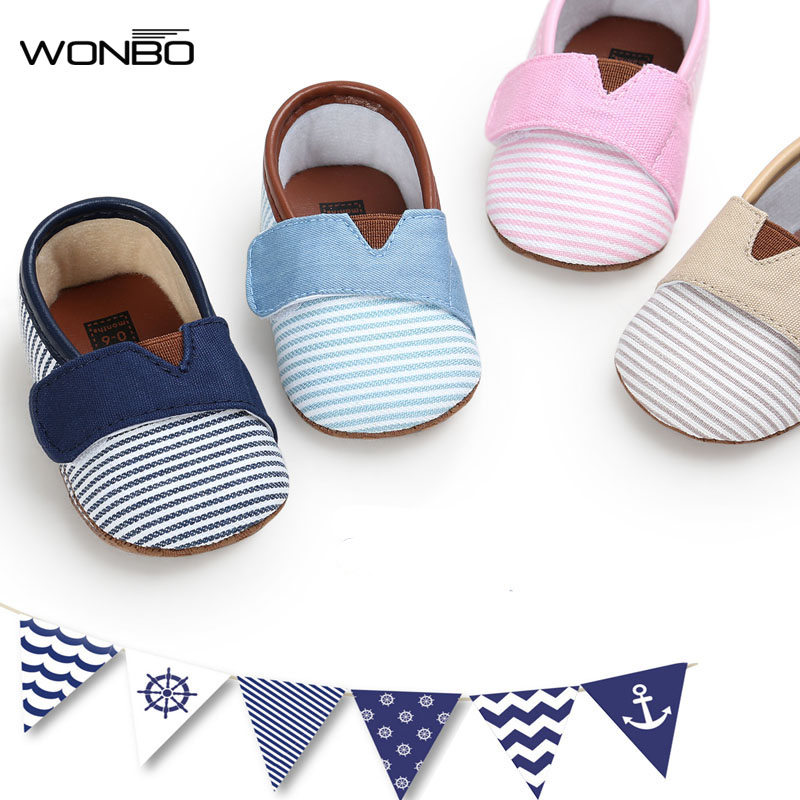 WONBO 2019 Autumn New Design Baby Shoes Gingham Cotton Hook & Loop First Walkers