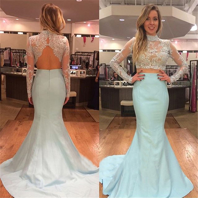 470a0b6b433a Charming Beaded Lace Two Piece Prom Dress Long Sleeve Aqua Blue Prom Dresses  Shinning Mermaid Prom Gowns Pretty Party Dress RT85