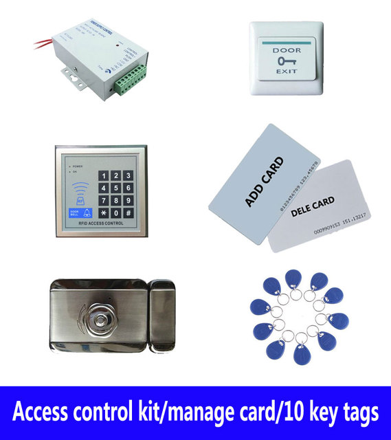 access control kit,standalone access control +power+ inteligent mute lock+ exit button+2 manage card,10 keyfob ID tags,sn:set-9