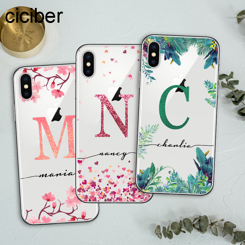 ciciber Custom Design DIY Name Case For iPhone 11 Case iPhone 11 Pro XS Max 7 XR X 8 6S Plus Cover for Samsung S10 S9 Plus S10e