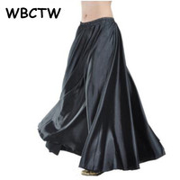 2014 New Freeshipping Hot Black Satin Long Dress Skirt Elastic Waistband Tribe Design Wonderful Gift Stage