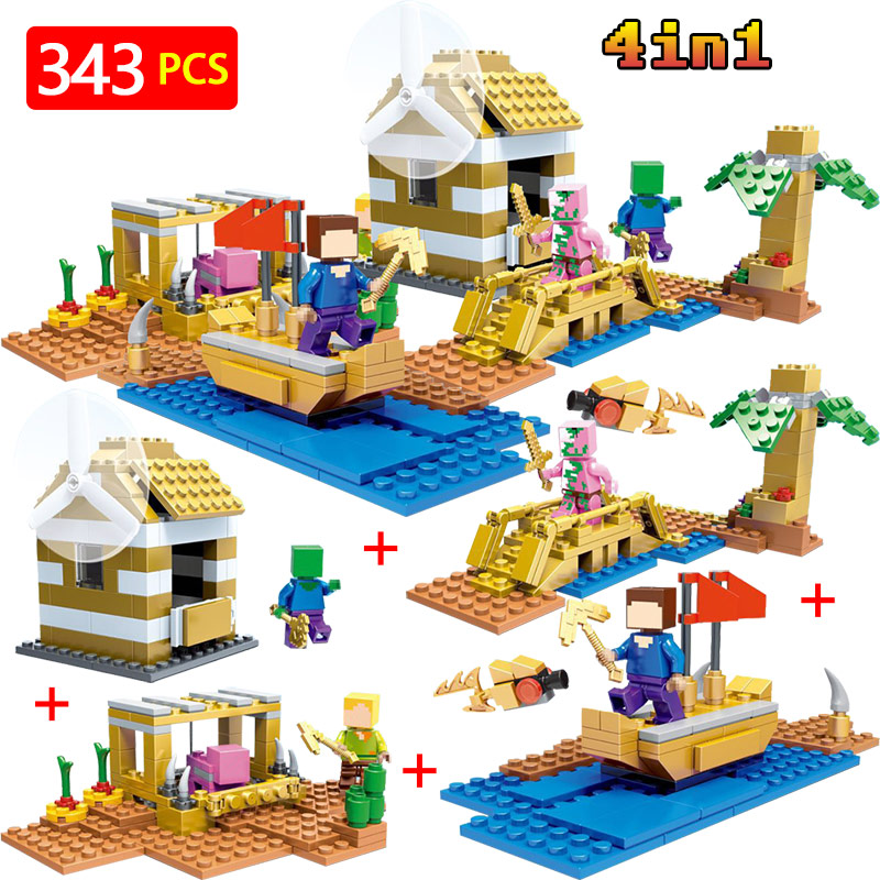 New Technic LegoINGLYS Minecrafted My World Building Blocks Village Series DIY  Bricks Guard Educational Toys For Children lele my world power morse train building blocks kits classic educational children toys compatible legoinglys minecrafter 541 pcs