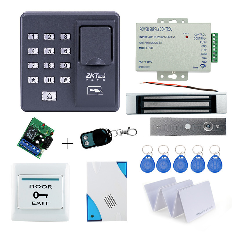 Full kit biometric fingerprint access control X6+180KG magnetic lock+power supply+exit button+door bell+remote control+key cards hot sale completed door access control system kit v2000 c and electric control lock power supply exit button 10pcs id key cards