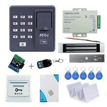 Kit completo de control biométrico de acceso con huella dactilar, cerradura magnética de 180KG, fuente de alimentación, botón de salida, timbre de puerta, control remoto y tarjetas de llave