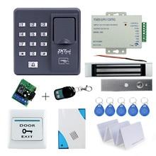 フルキットバイオメトリック指紋アクセス制御 X6 + 180 キロ磁気ロック + 電源 + 終了ボタン + ドアベル + リモコン + キーカード