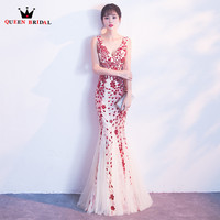 Sexy Mermaid Sequin Beaded Evening Dresses Pink Blue Black 2018 New Party Dress Evening Gowns Robe De Soiree QUEEN BRIDAL MS03
