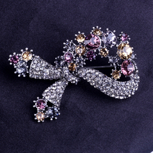 CocoANGEL Fashion Vintage Colorful Crystal Bowknot Brooch Pins Jewelry For Women