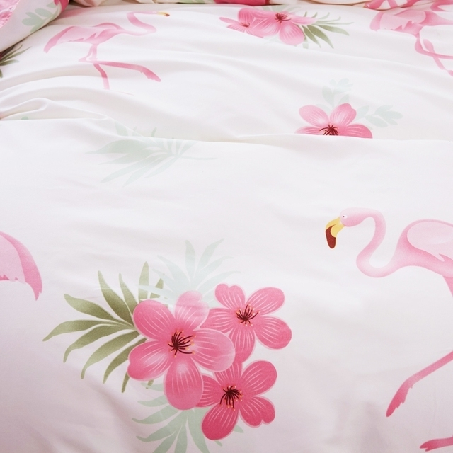 MrHomeStuff™ White Bedding Set Flamingo With Flower