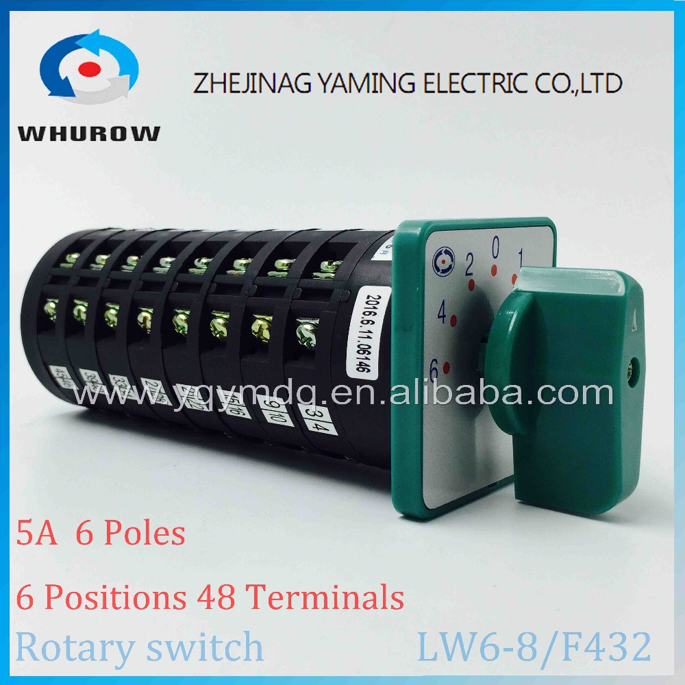 Rotary switch 6 positions LW6-8/F432 green changeover cam universal switch 380V 5A 8 pole 48 terminals sliver contacts ui 660v ith 25a 12 terminals 3 positions latching rotary changeover cam switch