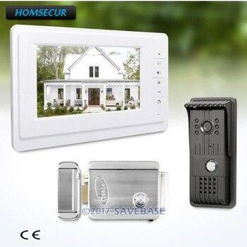 HOMSECUR 1V1 7 дюймов проводной видео безопасности дверной телефон Электрический замок поддерживается для домашней безопасности