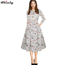 Oxiuly 2018 Autumn Female Dresses Floral Printing Casual O-Neck Dress Women Three Quarter Sleeve Knee-Length Vestidos