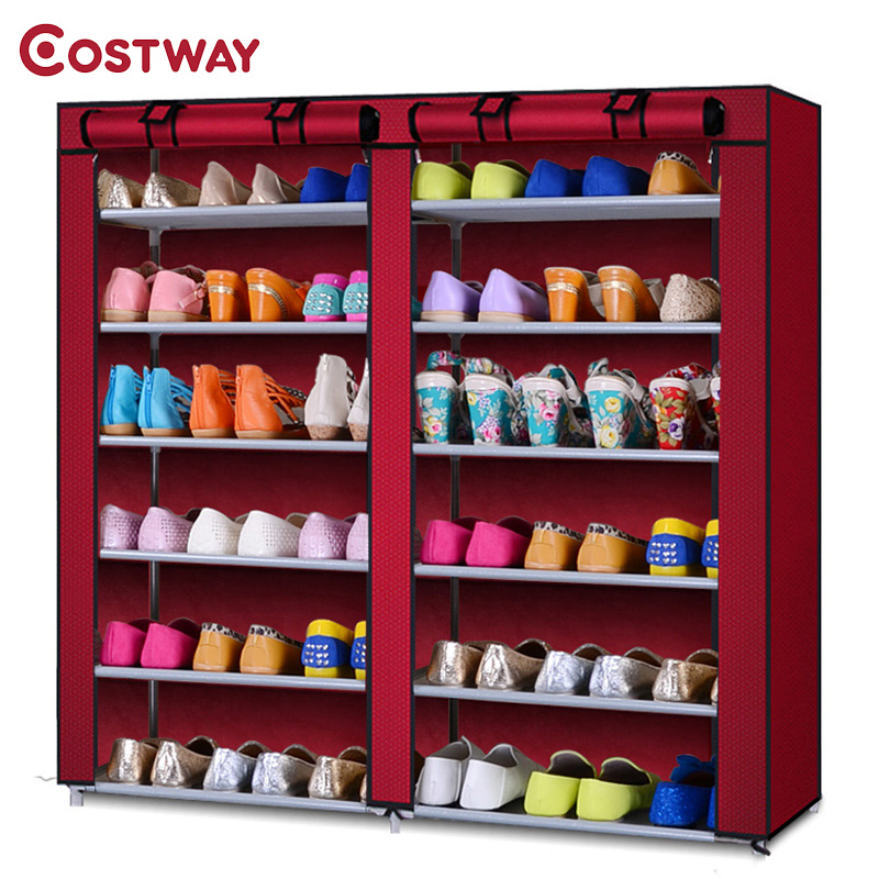 COSTWAY Non-woven Shoe Cabinets Double Row Shoes Rack Stand Shelf Shoes Organizer Living Room Bedroom Storage Furniture W0123