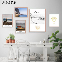 Scandinavian Sea Beach Coastal Canvas Wall Art Poster Nordic Style Sunset Landscape Print Painting Nature Decoration Pictures