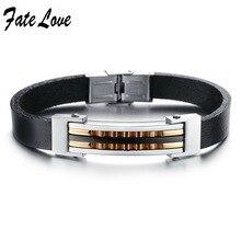Fate love pulsera de cuero pulseras de los hombres deportivos con cierre ajustable 10mm ancho brazalete de la joyería de cadena de acero de cuero negro fl833