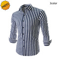 HOT 2016 Spring Autumn Casual Normal shirt Men Light Striped shirt Business Shirts Brand Clothing Chemise Homme Mens Shirts
