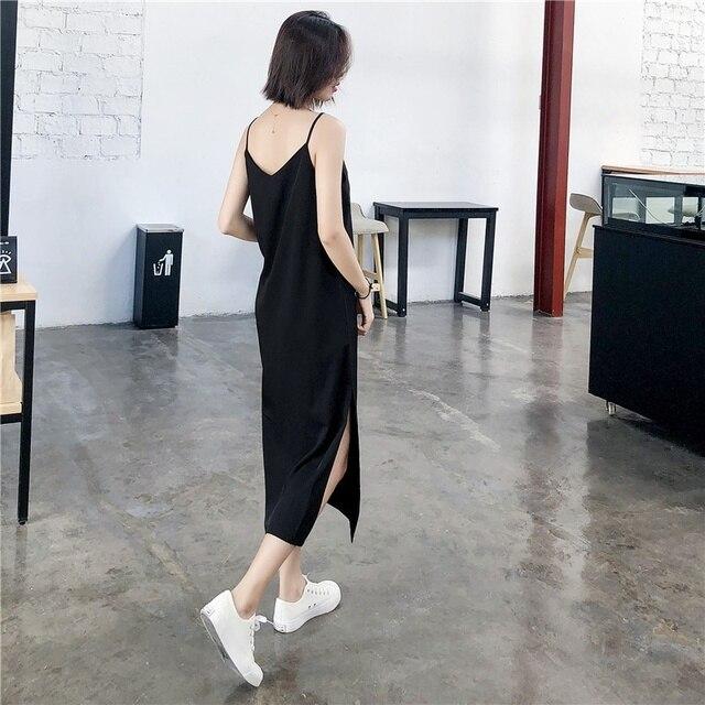Sexy Women Maxi Dress Black Sling Dress Female Summer 2020 Sleeveless V-neck Vest Long Women Dresses 3