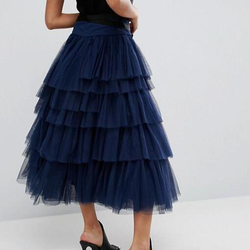 Dark Con Partido Tulle Baile Sash Cinta Tobillo Azul Por Faldas Saia Largas Del Encargo Falda Formal Mujeres Tiered Navy Tutu v71wycq5cg
