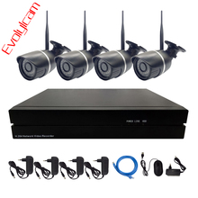 Evolylcam 4PCS HD 720P/960P/1080P Wireless Bullet IP Camera Kit Wifi Network Alarm Security With 4CH Onvif P2P NVR CCTV System