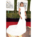 Laverne Cox Dress 73rd Golden Globe Awards Court Train White Satin Mermaid Formal Event Celebrity Dress