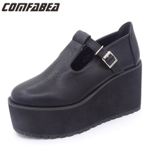 Black Platform Shoes Women Spring Summer Autumn Punk shoes Casual Flats Shoes Creepers Cool Shoes Harajuku Style