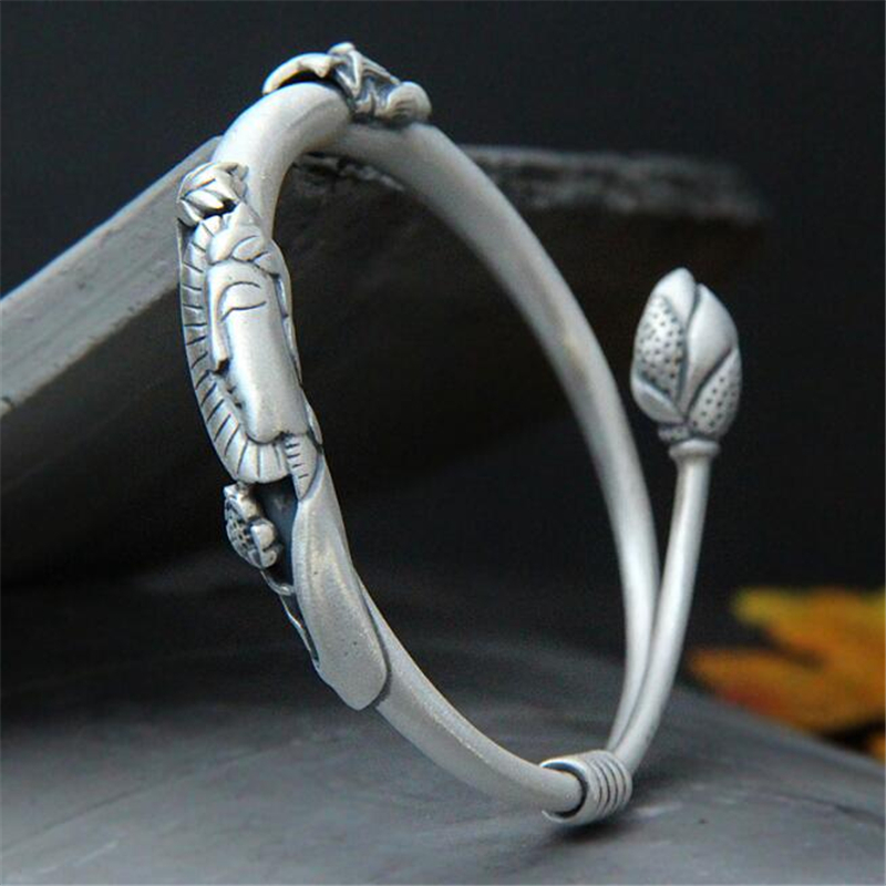 Hot Selling Antique 100% Real 999 Silver Bangle Bracelet Lotus Flower Buddha Bangle Adjustable Vintage Religious Jewelry 30.70GHot Selling Antique 100% Real 999 Silver Bangle Bracelet Lotus Flower Buddha Bangle Adjustable Vintage Religious Jewelry 30.70G