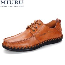 MIUBU Men Casual Shoes Leather Lace-up High Quality Comfortable Summer Zapatos Hombre