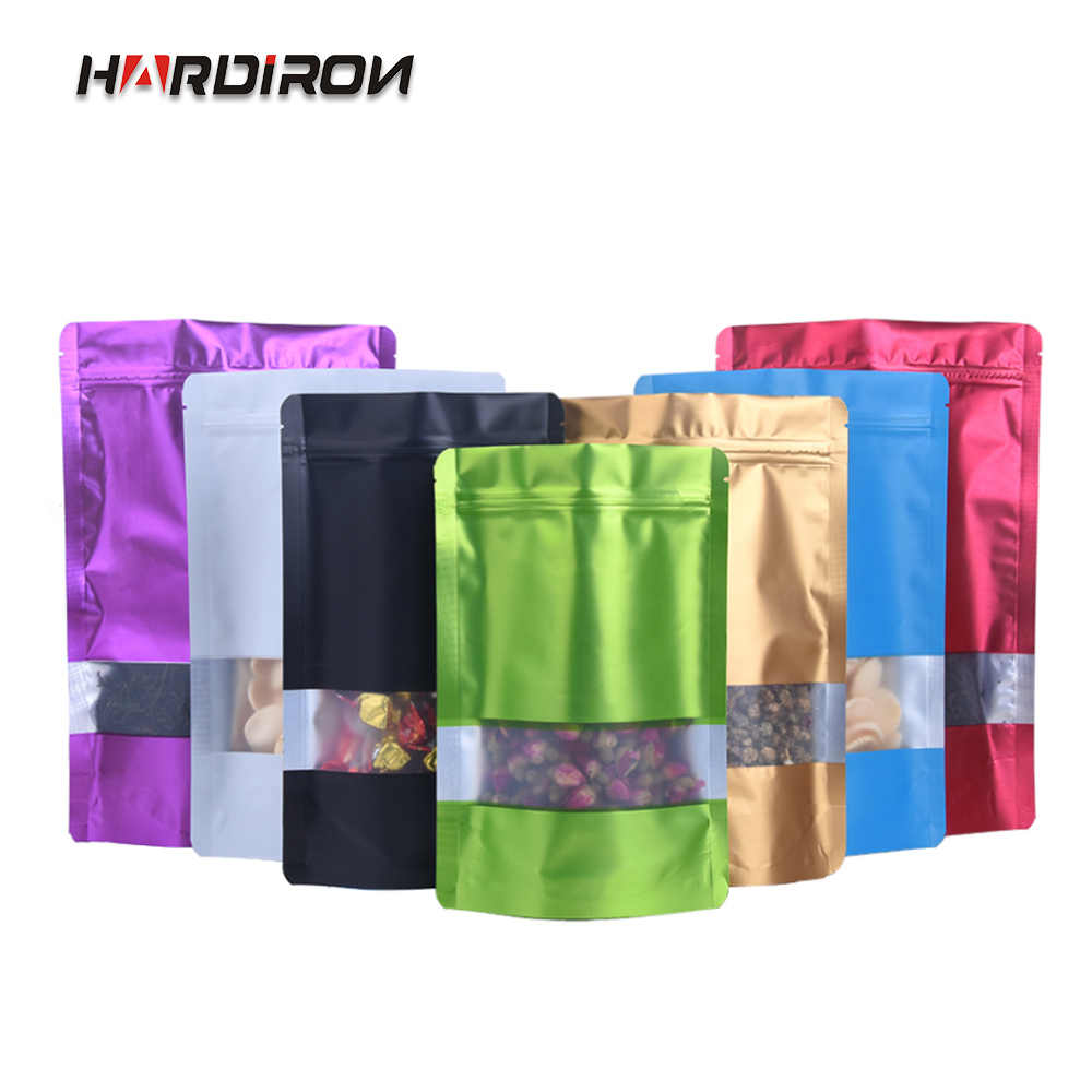 HARDIRON Thick Color Aluminum Foil Zipper Self-supporting Packaging Bag Food Nut Matte Display Window Packaging Sealed Bag