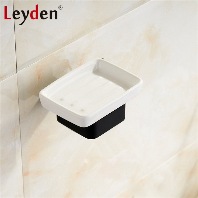 Leyden Stainless Steel Black Square Soap Dish with Holder Wall Mounted Soap Holder Ceramic Soap Dish Holder Bathroom Accessories draining soap dish with lid