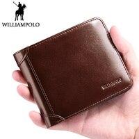 WilliamPOLO Trifold Wallet Genuine Leather Men Wallet Slim Short Purse For Male Fashion Bifold Wallet Businessman Gentlemen Gift