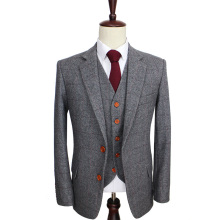 Шерстяной Ретро серый Твид в елочку британский стиль на заказ мужской костюм Портной slim fit Блейзер свадебные костюмы для мужчин 3 предмета