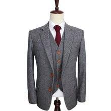 b3e413a5fb6d Wool Retro Grey Herringbone Tweed British style custom made Mens suit  tailor slim fit Blazer wedding suits for men 3 piece