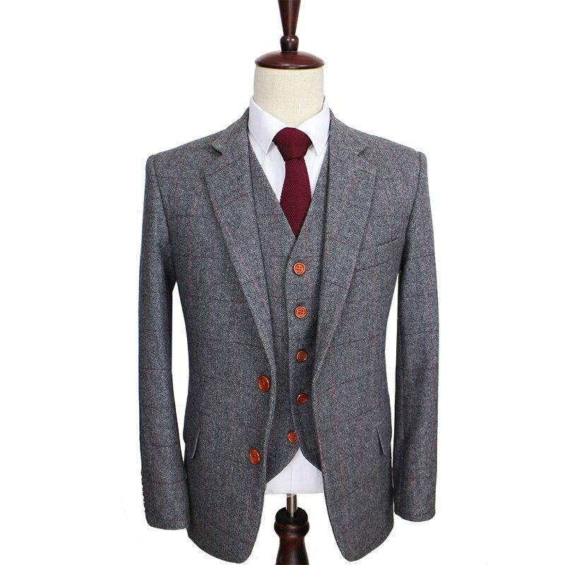 Laine rétro gris chevrons Tweed style britannique sur mesure hommes costume tailleur slim fit Blazer costumes de mariage pour hommes 3 pièces-in Costumes from Vêtements homme    1