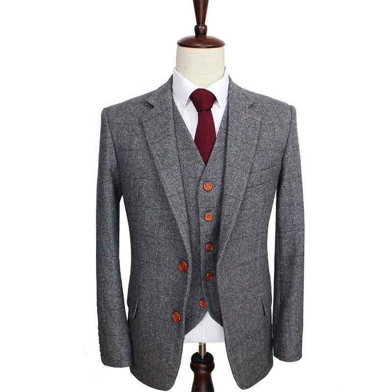 Wool Man Sute Wedding: Wool Retro Grey Herringbone Tweed British Style Custom