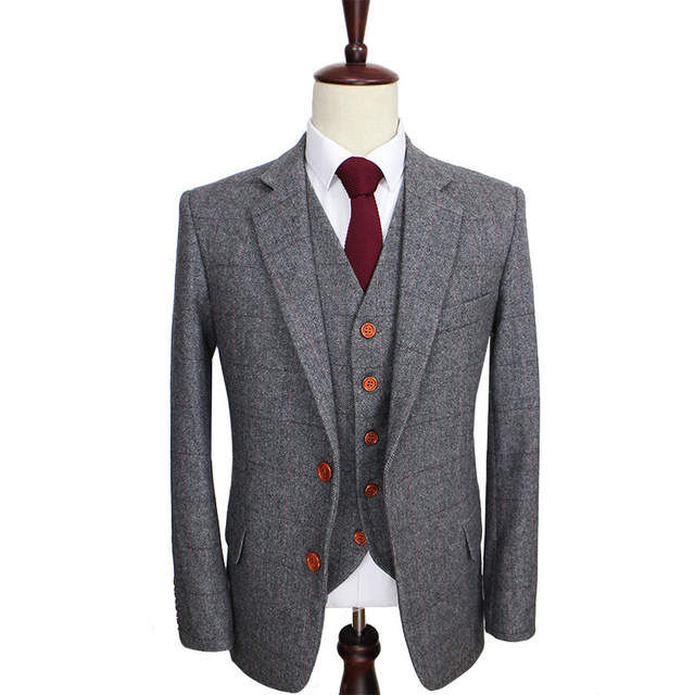 4ee262a25c7 placeholder Wool Retro Grey Herringbone Tweed British style custom made Mens  suit tailor slim fit Blazer wedding