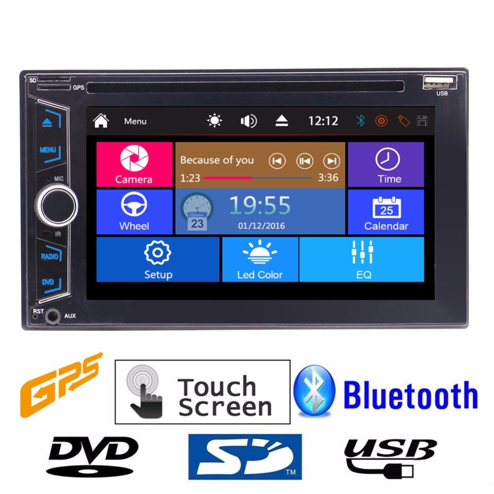 Double 2 DIN Car headunit Electronics DVD CD 1080P Video music Player Bluetooth GPS Navi Digital TouchScreen Car Stereo Radio