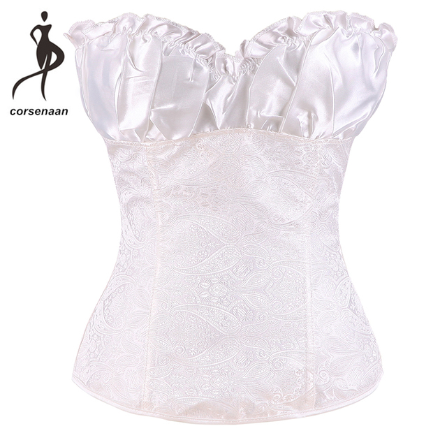 3d1d7f76f6d Zipe Side Brocade Women Lace Up Overbust Corset Bustier Outfit Plus Size  Korset With Cup Black Apricot White Red Silver 864
