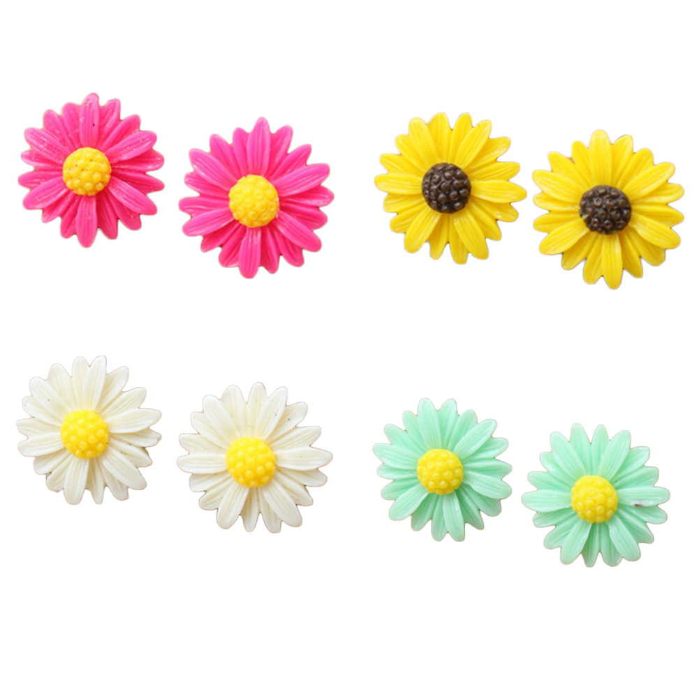 Fashion Alloy Needle Resin Exquisite Chrysanthemum Stud Earrings Girl Gift Earings Flower