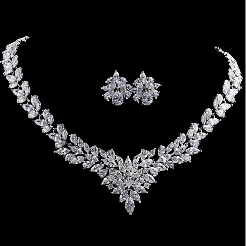 White Free Shipping Fashion AAA Cubic Zircon Jewelry Sets ,Earrings /Necklace,Promotion,Nickel Free, Factory price free shipping 1000pcs pack 16mm nickel free gold plated brass leverback in wholesale price