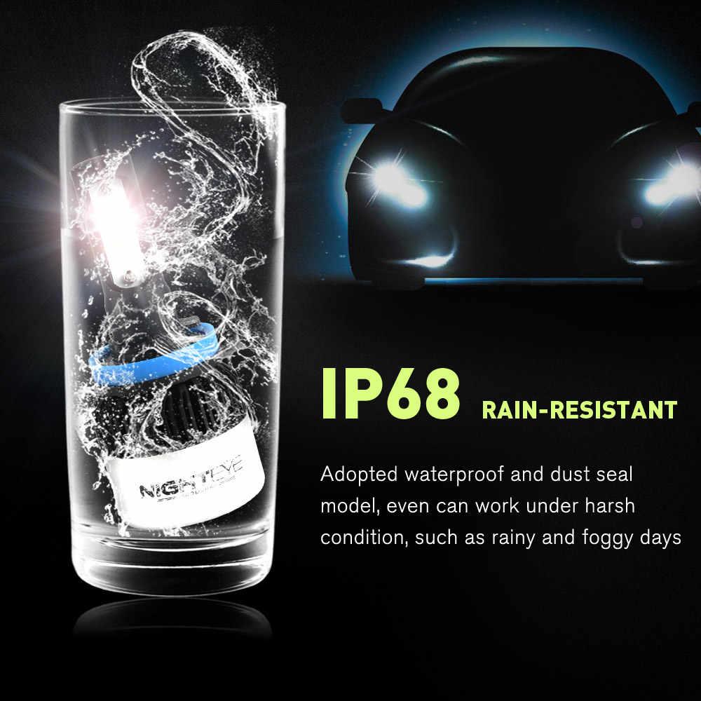 NIGHTEYE 2Pcs H4 LED H7 H11 H8  H9 9006 HB4 H1 9005 HB3 Car Headlight Bulbs LED Lamp with COB Chip 9000LM Auto Fog Lights 6500