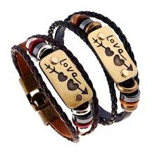 2 шт./партия, браслет для влюбленных, романтичный кожаный браслет с двойным сердцем, модные дешевые ювелирные изделия для мужчин и женщин