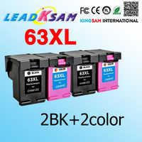 4x compatible para hp63 reemplazo de cartucho de tinta para 63 63xl DESKJET 3630 3632 Officejet 4652 4655 ENVY 4522 impresora