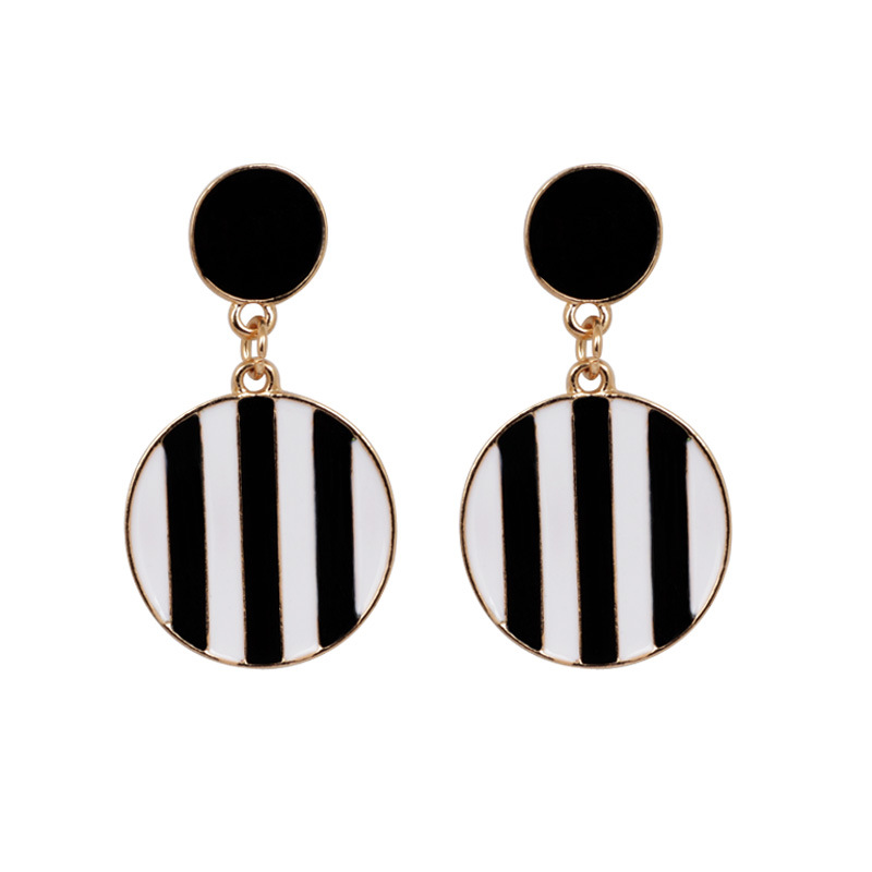 Female accessories exaggerated drops black and white earrings