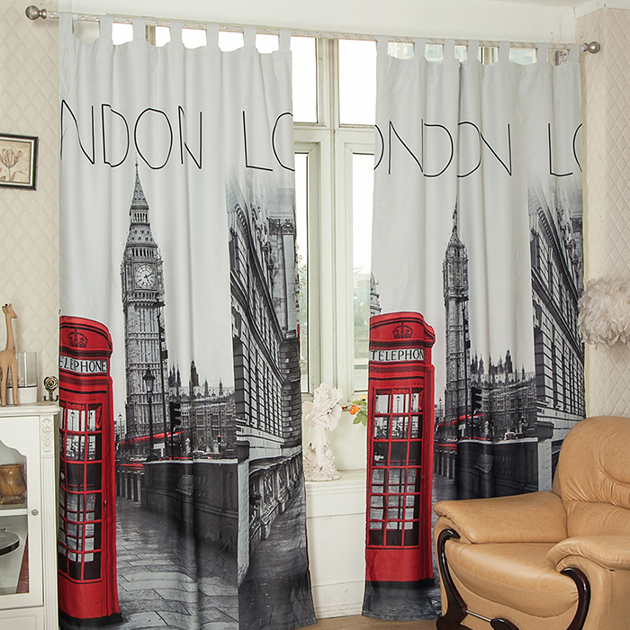 exceptionnel rideaux londres pas cher 8 rideau occultant motif londres london 135x240 cu2026. Black Bedroom Furniture Sets. Home Design Ideas