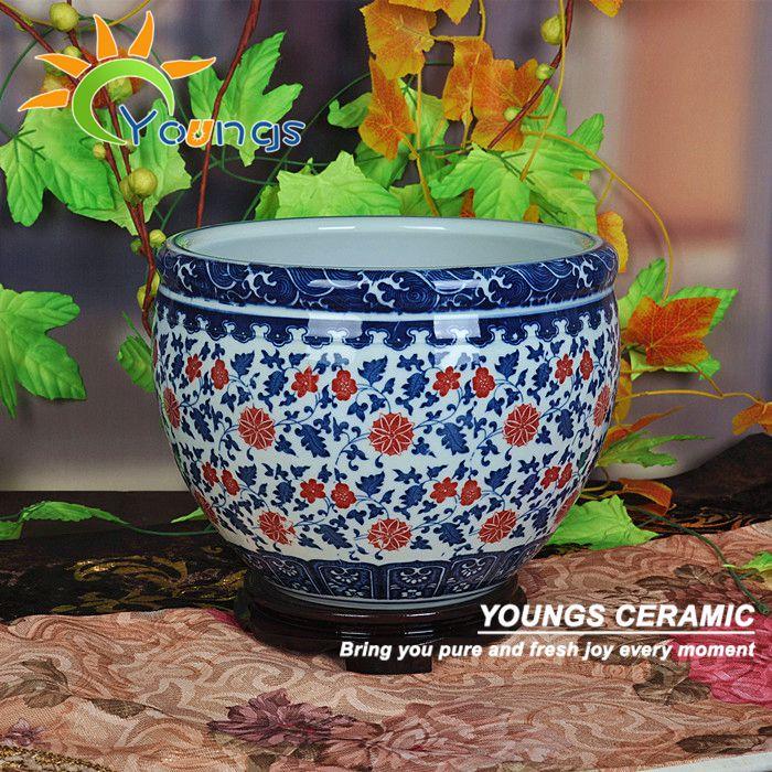 Bol à poisson en céramique de porcelaine bleue et blanche de reproduction antique chinoise avec la marque Qing QianLong