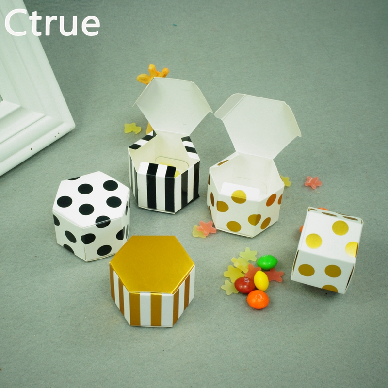 24PC Stripe Dot Bean Paper Gift Box Candy Boxes Baby Shower Decorations Wedding Favors and Gifts Box for Guests Party Supplies