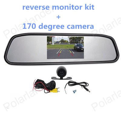 4.3 inch Color LCD Car Monitor with 2 VA input auto switching video +170 degree reverse parking camera