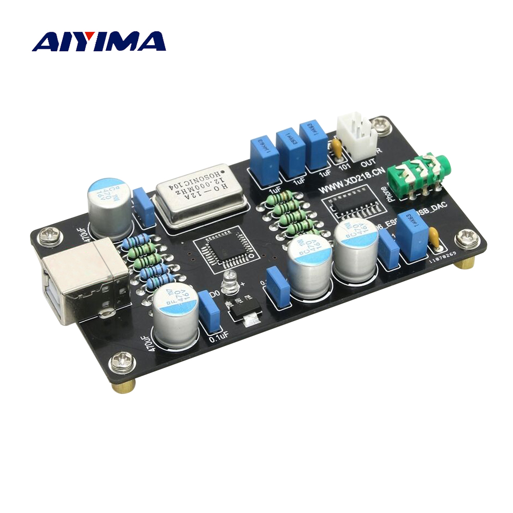 Aiyima PCM2706 ES9023 USB Audio DAC Sound Card Decoder Board HI-FI Zero Noise I2S Decoding